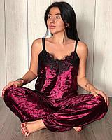 Вишневая пижама штаны и майка- мраморный велюр, теплые пижамы.