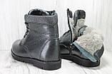 Подростковые зимние ботинки для девочек натуральная кожаи натуральный мех Alexandro, фото 3