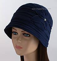 Теплая женская шляпка Рэтро темно-синего цвета