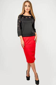 Жіноча спідниця Монті, прямий облягаючий силует, / розмір 44-52 колір червоний