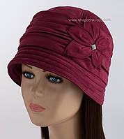 Зимняя шляпка из искусственной замши Рэтро бордового цвета