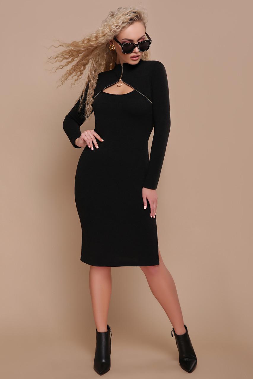 Модное платье гольф миди облегающее с разрезами длинный рукав ангора черного цвета