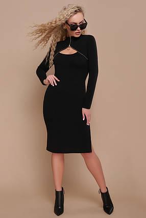 Модное платье гольф миди облегающее с разрезами длинный рукав ангора черного цвета, фото 2