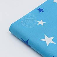 Отрез ткани №934а с звёздами разной величины синего и белого цвета на тёмно-бирюзовом фоне