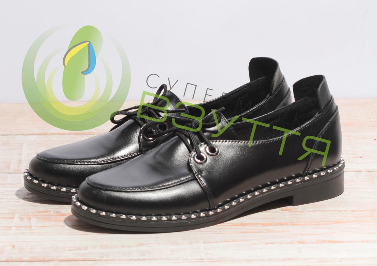 Шкіряні жіночі туфлі арт 10121 ч/до розмір 40,41