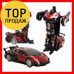 Радиоуправляемая машинка-трансформер Большая Transforms Changeable Lamborghini Красная 1 к 12