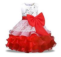 Платье для девочки нарядное пышное красное с бантом 3-8 лет