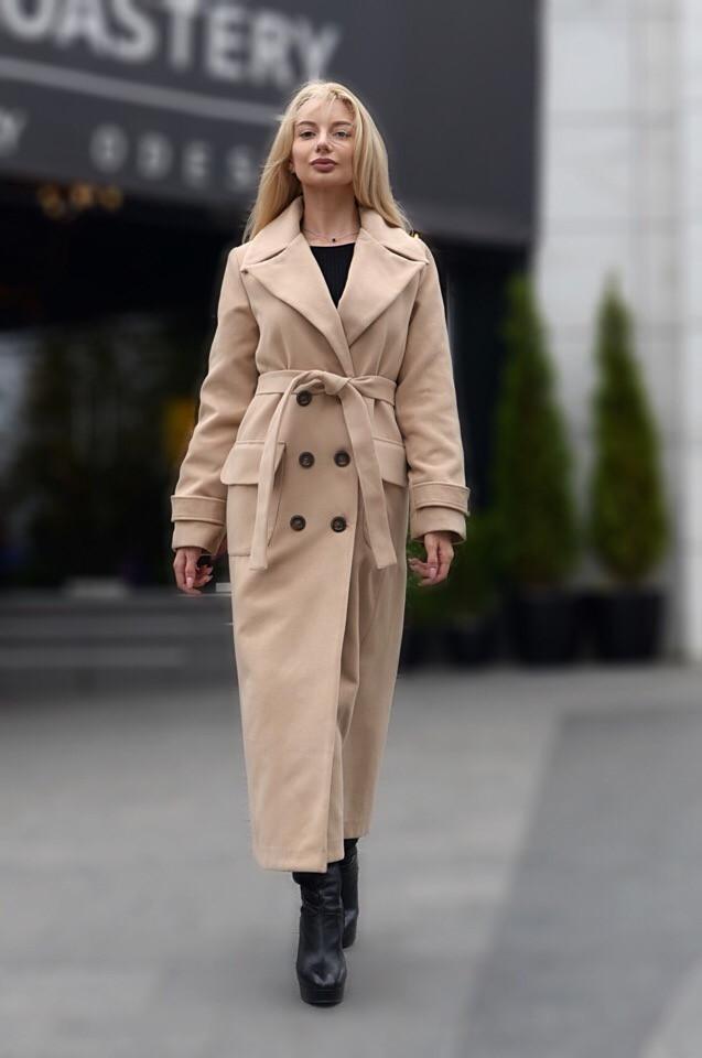 1ced4ecd148 Модное женское длинное демисезонное пальто из кашемира бежевое ...