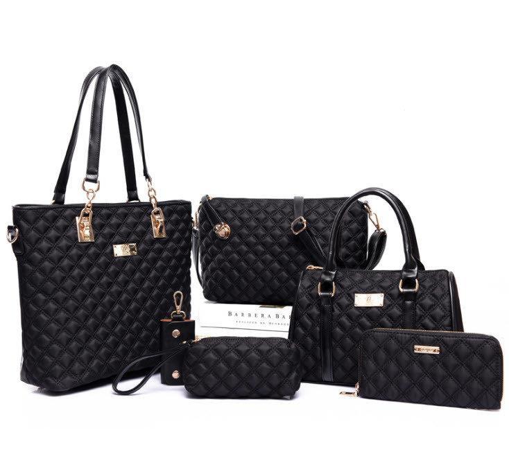 f718ece7886c Шикарный большой набор женских сумок 6 в 1 Стеганый дутый комплект модных  аксессуаров Новинка Код: