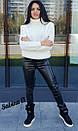 Женский вязаный свитер из полушерсти с высоким горлом 7sv411, фото 4