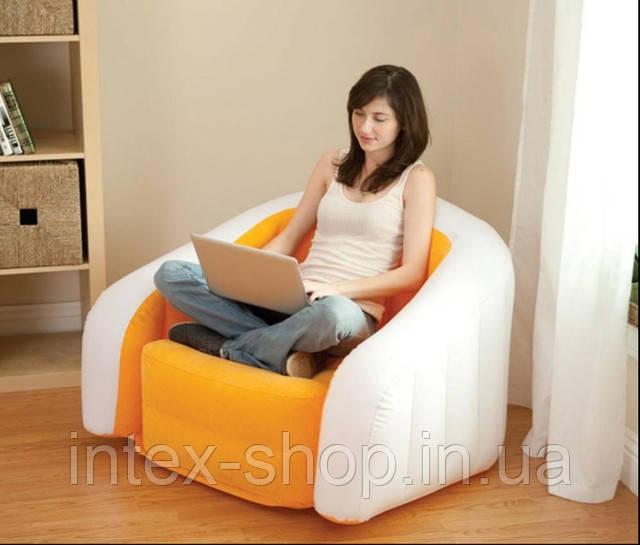 Надувное кресло Intex Cafe Club Chair 97x76x69 ИНТЕКС 68571 (Оранжевый)