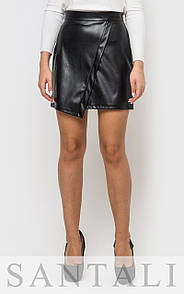 Асимметричная кожаная юбка черная 45si139