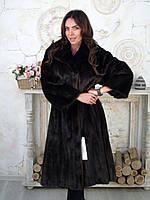 Классическая норковая шуба длинная темного цвета 50 52 размер