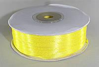 Лента атласная. Цвет - желтый. Ширина - 0,3 см, длина - 123 м