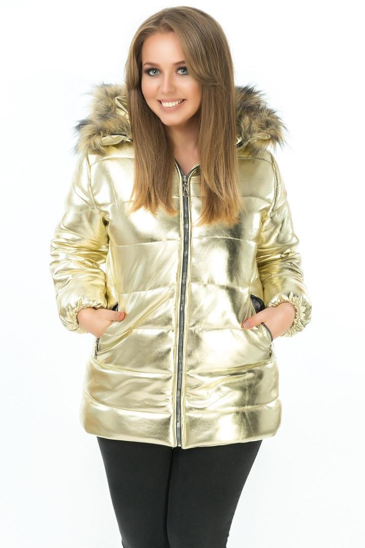 ec9097a3916 Супер теплая женская зимняя куртка больших размеров цвет золото ...