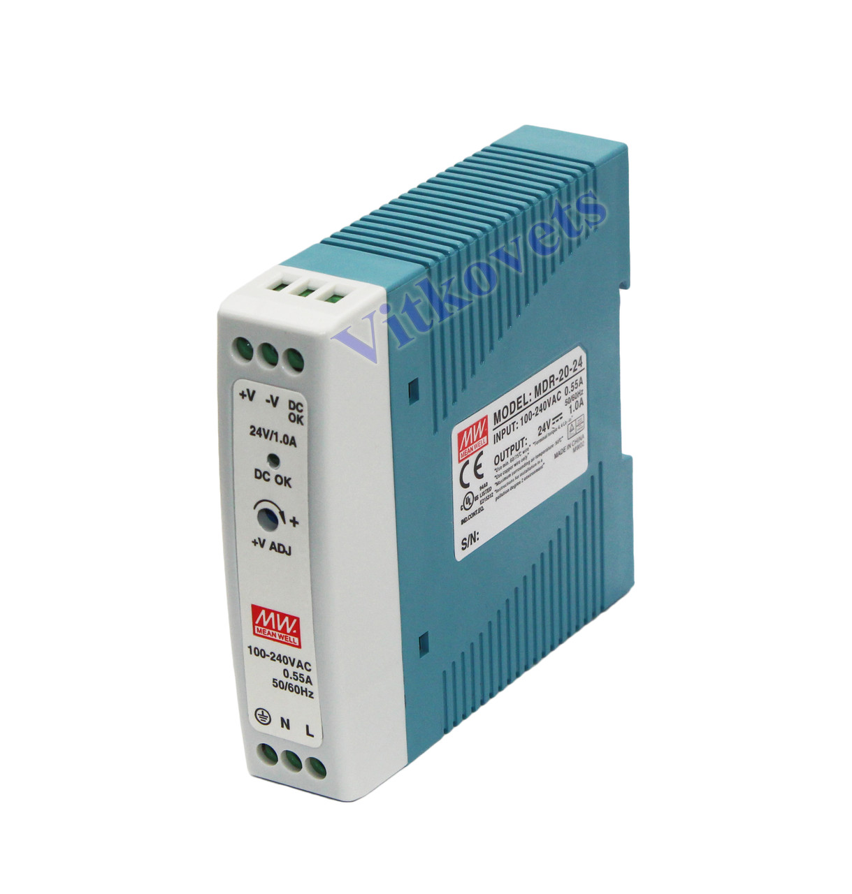 Источник питания MDR-20-24 (24V 1.0А 24W) для ЧПУ