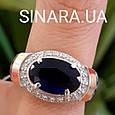 Серебряный комплект: кольцо и серьги с эмалью, золотом и синим камнем под Сапфир, фото 7