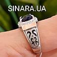 Серебряный комплект: кольцо и серьги с эмалью, золотом и синим камнем под Сапфир, фото 6