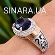 Серебряный комплект: кольцо и серьги с эмалью, золотом и синим камнем под Сапфир, фото 5