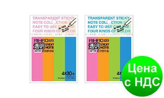 """Стікери самоклеючі Aihao 66729 """"Неон"""" (4 кол.*30 шт./76*19 мм) пластикові кольорові"""