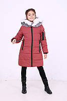 Детская зимняя удлиненная  курточка для девочки «Карина» ТМ MANIFIK