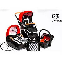 Коляска 2 в 1 Dada Paradiso Group Carino New 03 оранжевый полосатый
