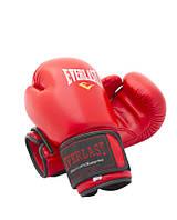 Перчатки боксерские кожаные Everlast (8 и 12 oz, красный)