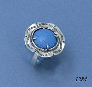 Кольцо из серебра с имитацией бирюзы., фото 2