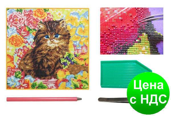 Мозаїка алмазна 5D Кошеня серед квітів 36*36 див., фото 2