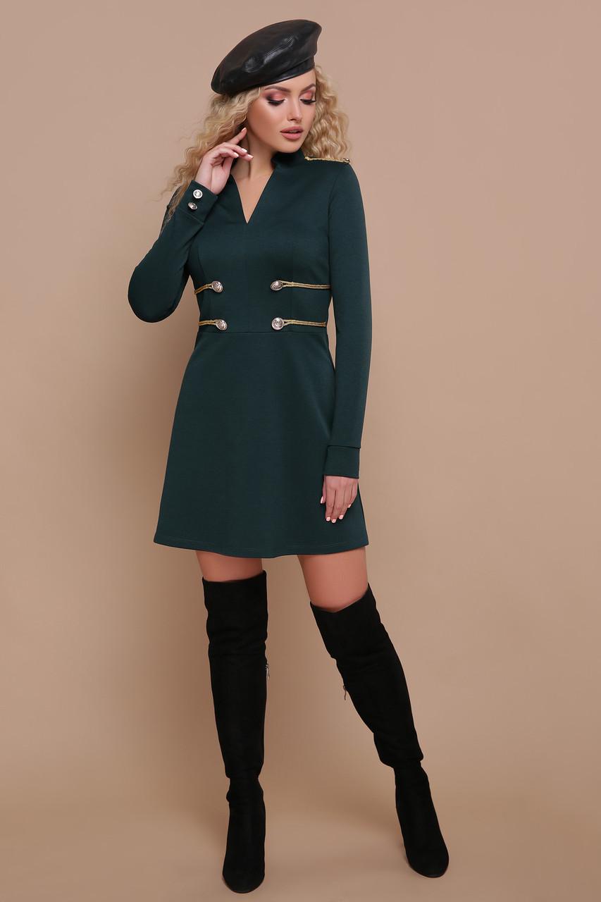 Эксклюзивное платье мини полуприталенное с пуговицами длинный рукав изумрудное