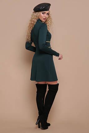 Эксклюзивное платье мини полуприталенное с пуговицами длинный рукав изумрудное, фото 2