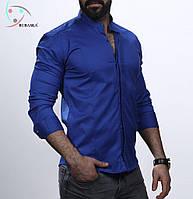 Чоловіча синя сорочка з довгим рукавом