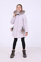 Детская зимняя куртка для девочки «Вика-дочка» с натуральным мехом ТМ MANIFIK