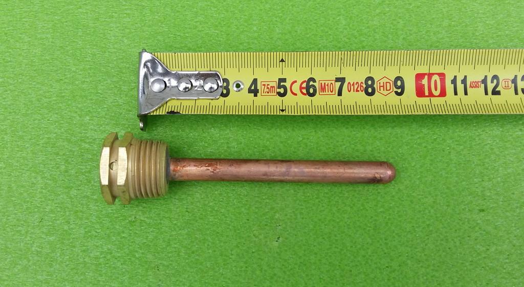 Трубка-колба (патрон) медная Ø8,5мм / L=85мм на латунном штуцере Ø20мм (резьба М20) под термостат