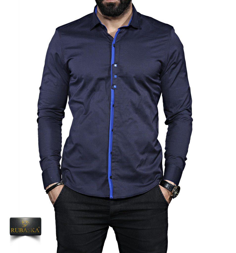 Мужская темная рубашка с длинным рукавом