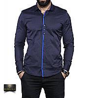 Чоловіча темна сорочка з довгим рукавом, фото 1