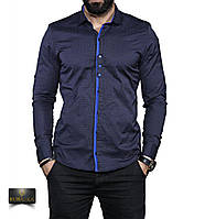 Мужская темная рубашка с длинным рукавом, фото 1