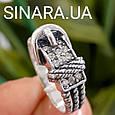 Стильное серебряное кольцо в виде ремешка - Женское серебряное кольцо Ремешок, фото 5