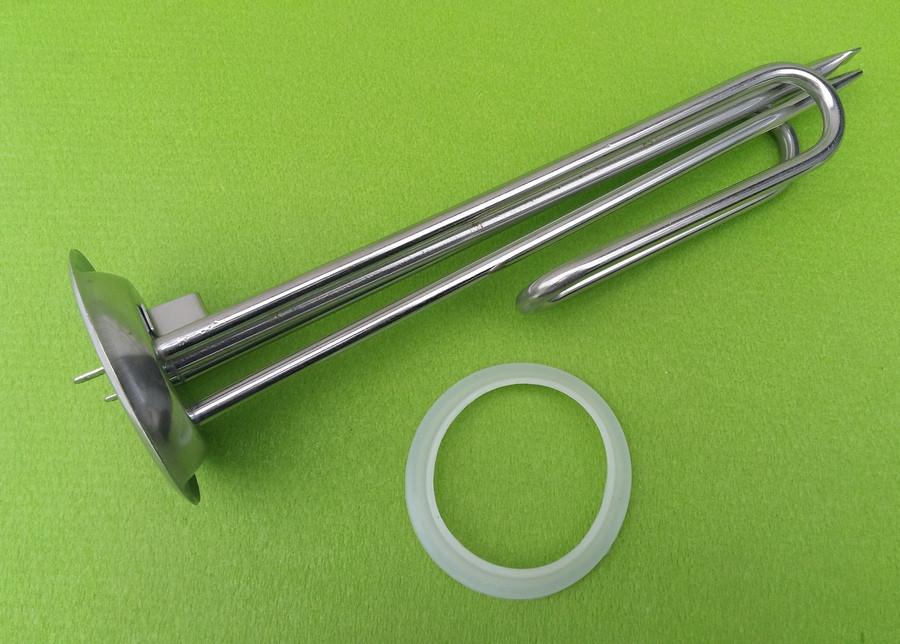 Тэн гнутый из нержавейки 2000W / 220V (на фланце Ø92мм) / с 2-мя трубками под термостаты для бойлеров