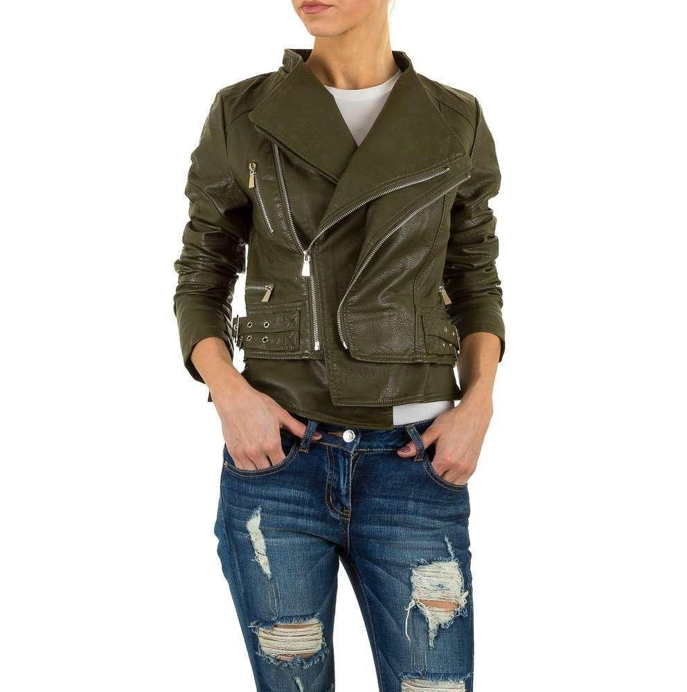 Куртка женская из экокожи косуха с двойным воротником (Европа), Хаки
