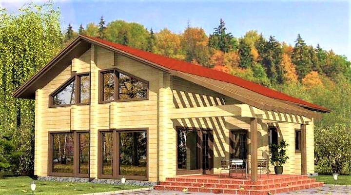 Деревянный двухэтажный дом из профилированного клееного бруса 10х11 м