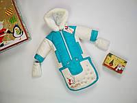 Зимний комбинезон конверт 3 в 1 для новорожденных и детей до года Снеговик бирюзового цвета, фото 1