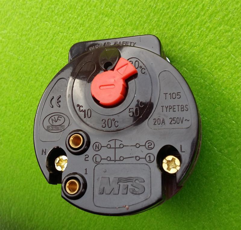 Терморегулятор механический MTS / type TBS /20А /250V с термозащитой (для ТЭНов) / L=270мм (коричневый)  Китай