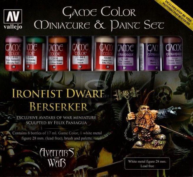 Набор из 8 красок: Ironfist Dwarf Berserker. VALLEJO 72211