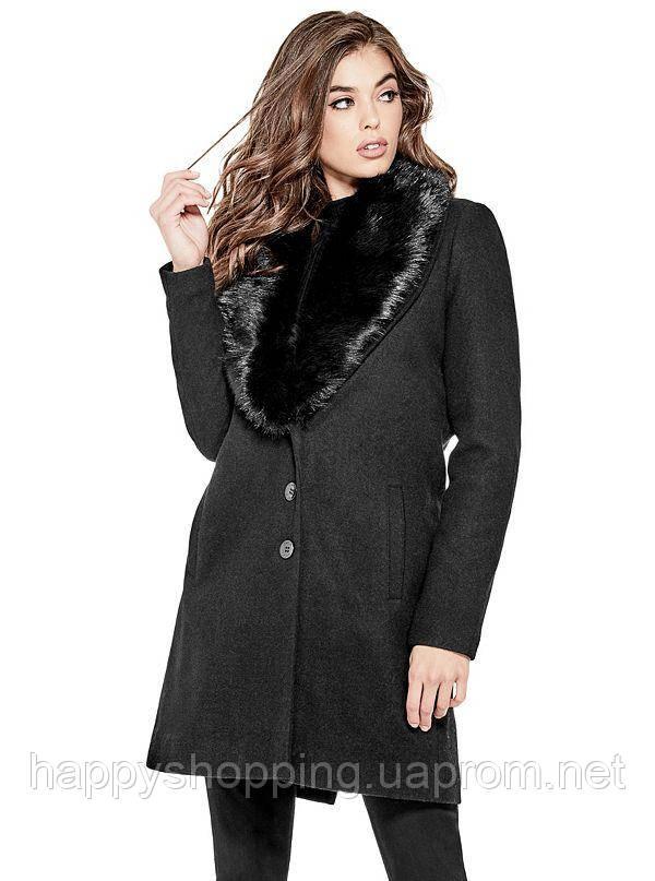 Женское чёрное шерстяное пальто GUESS