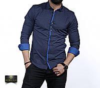 Мужская синяя рубашка с длинным рукавом, фото 1