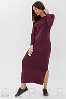 Трикотажное платье-макси цвета марсала с декором