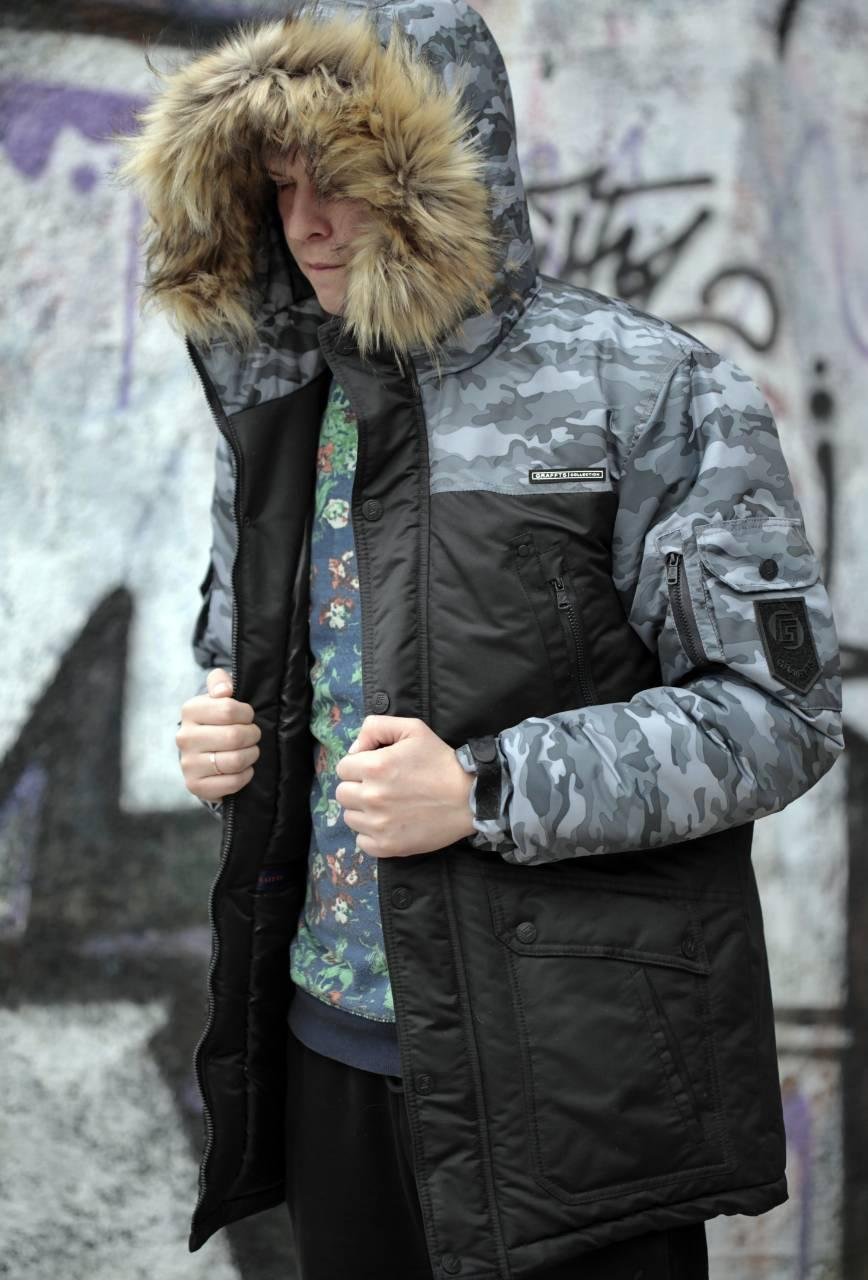 Мужская зимняя куртка парка 9065 черный цвет, фото 1