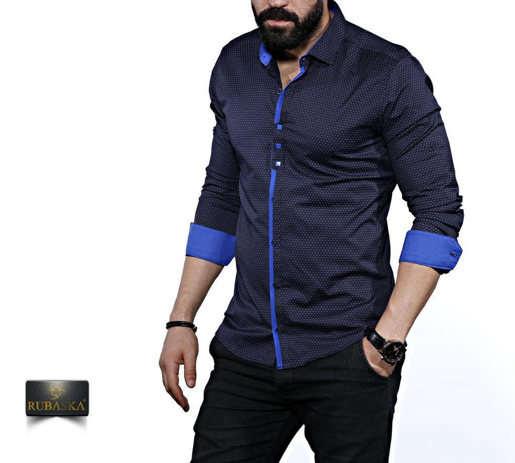 Мужская темно-синяя рубашка с длинным рукавом