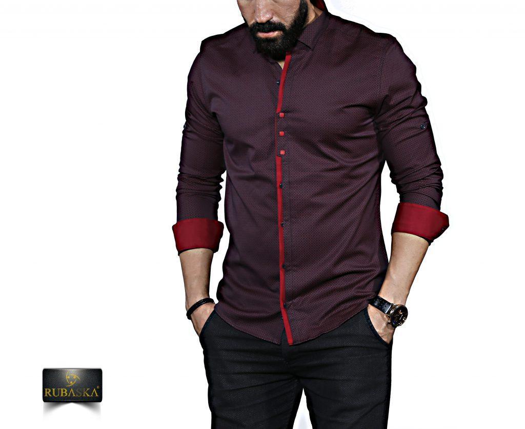 Мужская бордовая рубашка с длинным рукавом